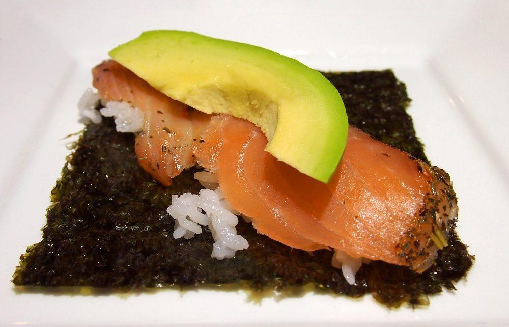 Salmon and avocado ready to roll into temakizushi