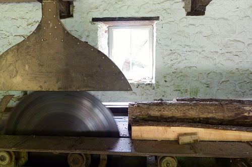 Cutting blade inside the sawmill at Florence Court near Enniskillen, Northern Ireland