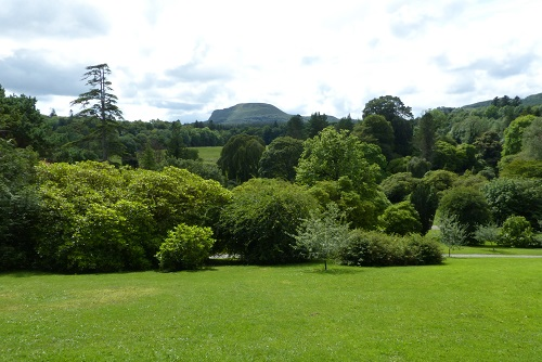 View from Florence Court summer house over trees to Benaughlin Mountain near Enniskillen, Northern Ireland