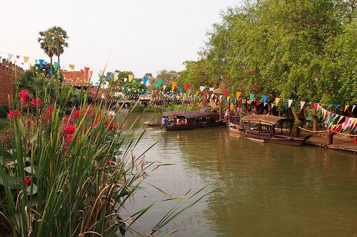 Flowers alongside the canal at Ayutthaya Floating Market in Thailand