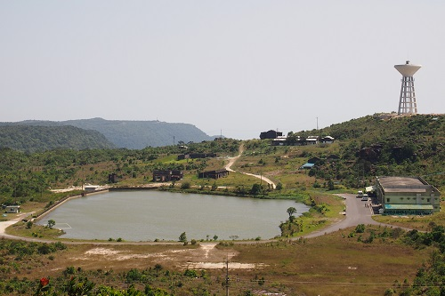 Water tower and lake at Bokor Hill Station in Cambodia