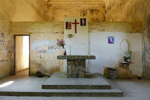 Altar inside the Catholic church at Bokor Hill Station in Cambodia