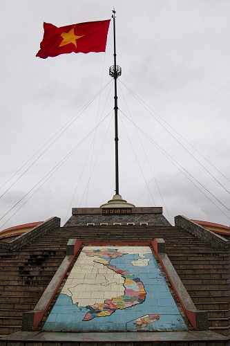 Flag and map of Vietnam in the DMZ