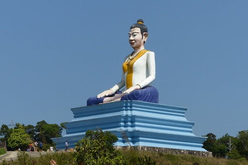 29 metre high statue of Lok Yeay Mao at Bokor Hill Station in Cambodia