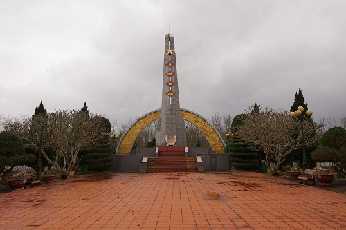 Tall monument at military cemetery in the DMZ, Vietnam