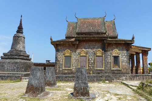 Pillars and Wat Sampov Pram temple at Bokor Hill Station in Cambodia
