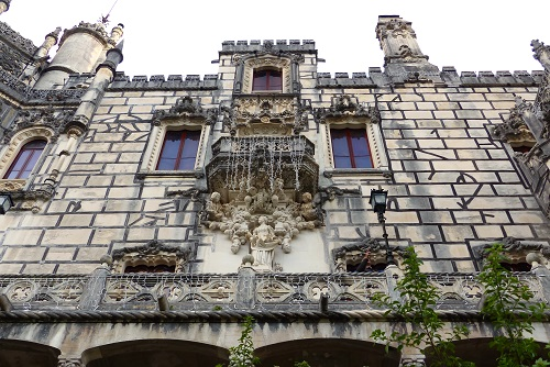 Windows of Quinta da Regaleira palace in Sintra, Portugal