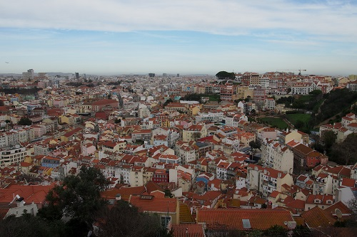View over colourful houses from Sao Jorge Castle, Lisbon, Portugal