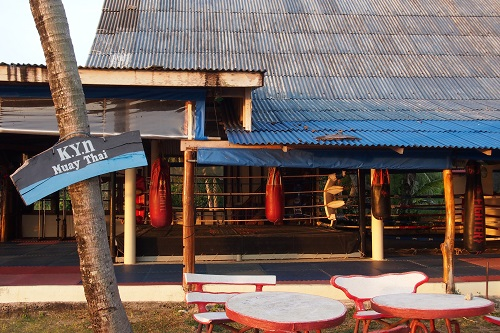 Open-air boxing gym at KYN Muay Thai training camp in Koh Yao Noi, Thailand