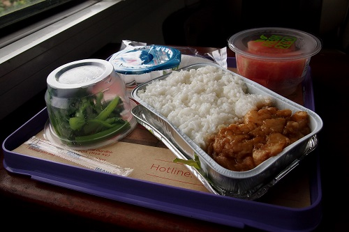 Chicken and rice meal on train in Vietnam