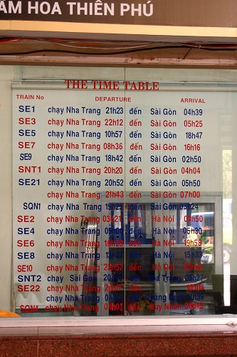 Timetable at train station in Vietnam