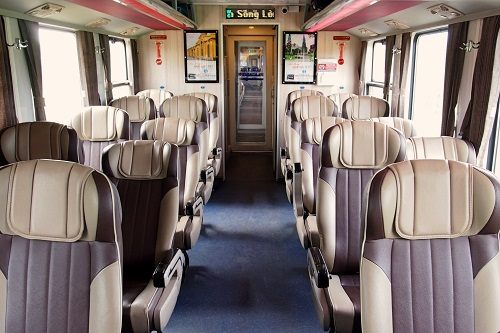 Interior of train carriage in Vietnam