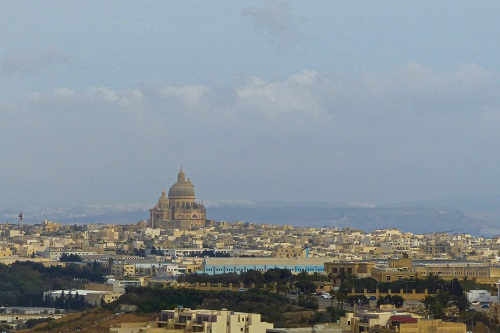 View from citadel over town of Victoria, Gozo