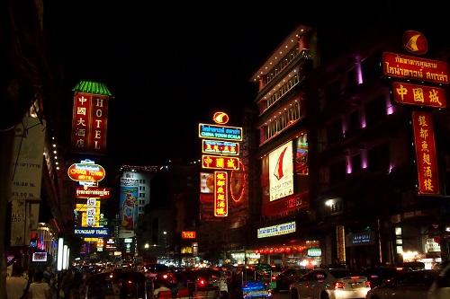 Bright lights at night in Chinatown, Bangkok, Thailand