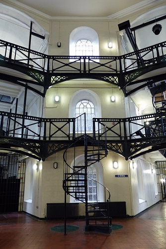 Metal walkways and stairs in The Circle at Crumlin Road Gaol in Belfast, Northern Ireland