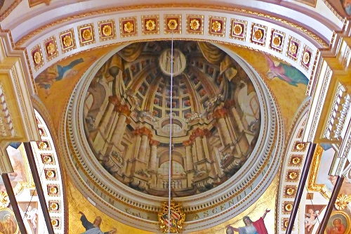 Trompe l'oeil dome on ceiling of Gozo Cathedral in the citadel, Victoria