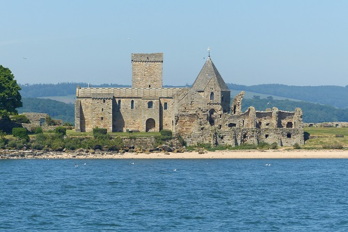 Inchcolm Abbey seen from across the bay in Firth of Forth, Scotland
