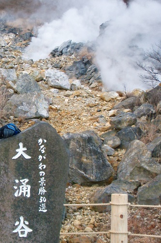 Owakudani sign and steaming volcanic vents in Hakone, Japan