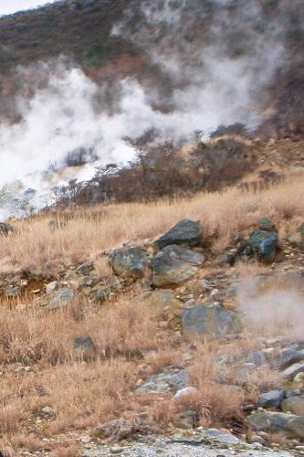 Steaming volcanic vents on hillside in Owakudani, Hakone, Japan