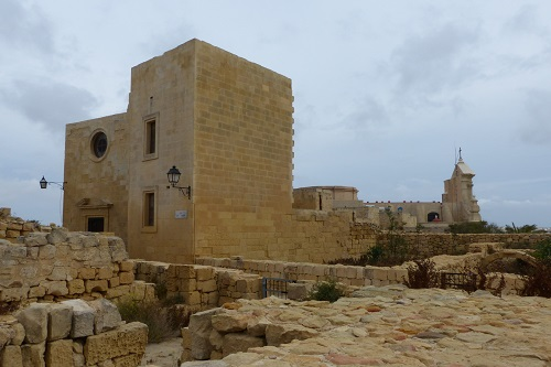 Sandstone buildings of the citadel in Victoria, Gozo