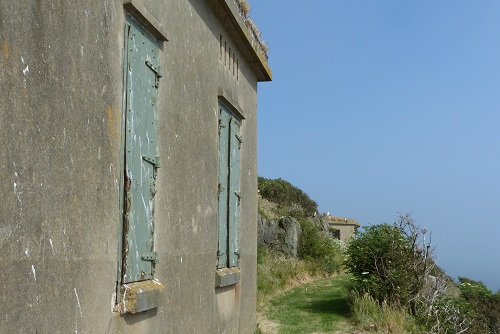 Shuttered windows of WWII Building on Inchcolm Island, Scotland