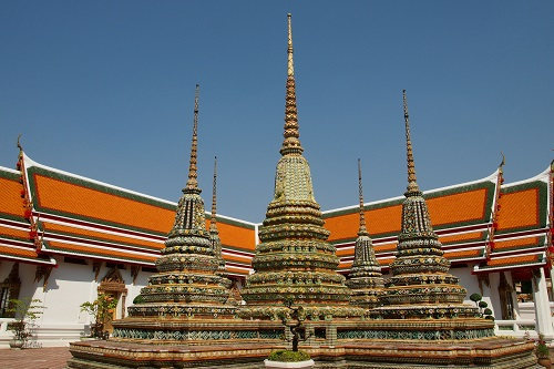 Five chedi at Wat Pho temple in Bangkok, Thailand