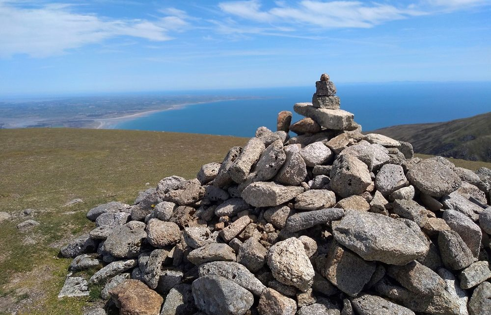 Cairn at summit of Slieve Commedagh in the Mourne Mountains, Northern Ireland