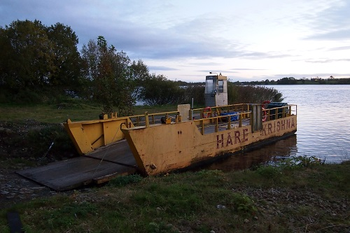 Hare Krishna Ferry on shore of Lough Erne, Northern Ireland