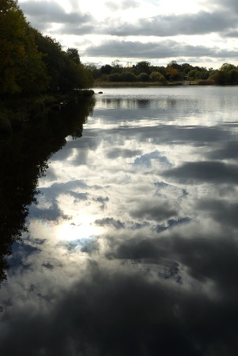 Sky reflected in Lough Erne by Inis Rath, Hare Krishna Island, in Northern Ireland