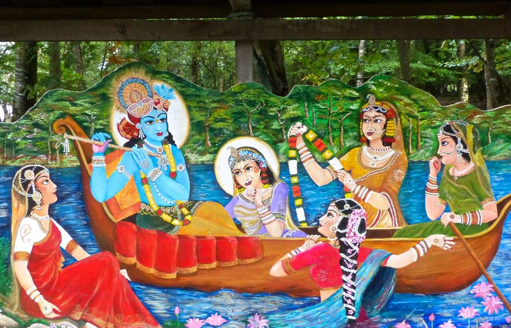 Painting of Krishna on a boat at Inis Rath, Hare Krishna Island, in Northern Ireland