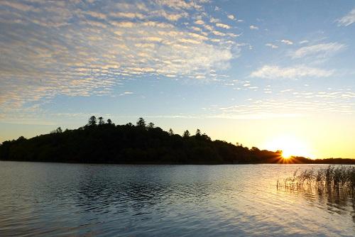 Sunrise behind Inis Rath, Hare Krishna Island, Northern Ireland